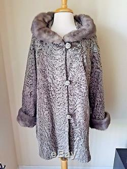Lauer Furs Vintage Brown Button Front Textured Coat Jacket Fur Trimmed Lined L