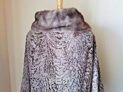 Lauer Furs Vintage Brown Button Front Textured Coat Jacket Fur Trimmed Lined L