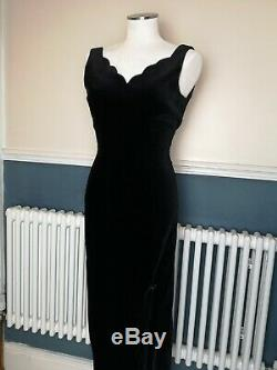 Laura Ashley Vintage Dress 8 Black Velvet Full Length Party Cocktail Evening