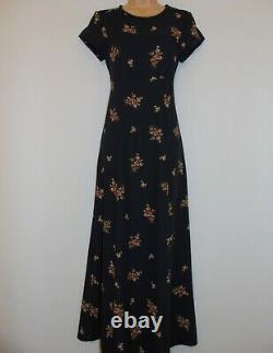 Laura Ashley Vintage Navy Fine Viscose Wool Blend, Empire Line Long Dress, UK 8