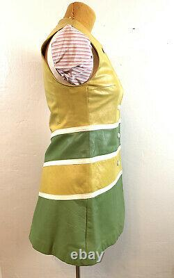 Leather Vintage Color Block Button Up 60's Go-Go Mini Fit And Flair A-line Dress