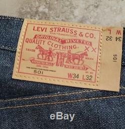 Levi's 1976 LVC Vintage Clothing 501 Red Line Not Big E Size 34×32