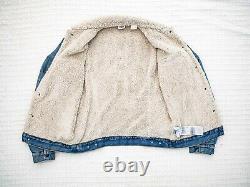 Levi's Vintage Clothing 1967 Sherpa Lined Denim Trucker Jacket Small LVC BIG-E