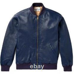 Levi's Vintage Clothing Dark Blue Goat Leather Bomber Jacket New Lrg 1950's Nwt