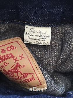 Levis Vintage Clothing LVC Type 2 1953 519xx Blanket Lined Denim Jacket Size 46
