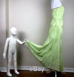 Lillie Rubin Green Beaded Gown Size M Strapless Dress Sequins Flowers Vintage