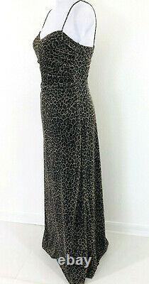 Lillie Rubin Vtg Spaghetti Strap Dress 6 Brown Animal Print Sparkle Long Lined