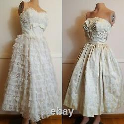 Lot of 2 1950's Cotillion Formals Vtg Strapless Lace Party Prom Dress Gold Flare