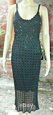 Lyndia Procanik Vintage Hand Crocheted Beaded Formal Black Maxi Dress Small