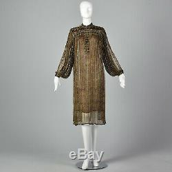 M 1970s Judith Ann Creations Dress Brown Black Silk Beaded Boho Tunic 70s VTG