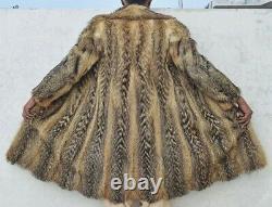 M L XL Womens Fur Coat Vintage Genuine Thick Luxurious Fox Fur Coat Bust 42
