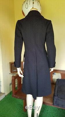 MILITARY Mod Black Wool A line Structured Vintage 60s Heavy Dress Coat S/M