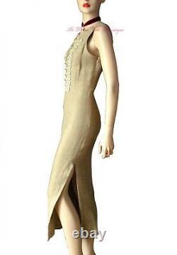MOSCHINO CHEAP & CHIC vintage 1990s beige linen maxi DRESS size UK 14 USA 10 46