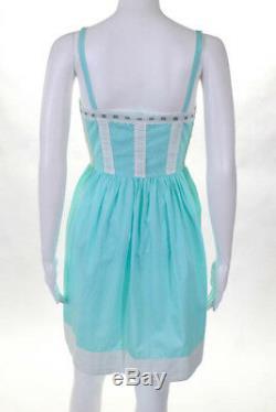 MOSCHINO VTG Teal White Cotton Eyelet Detail Spaghetti Strap A Line Dress 34