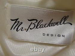 MR BLACKWELL Dress Vintage White Spaghetti Strap Feather Trim Lined 6