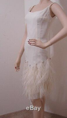 MR BLACKWELL Vintage White Spaghetti Strap Feather Trim Lined Dress 6