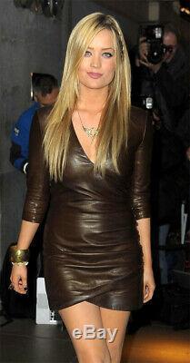 Made To Order Handmade Women Lambskin celebrity Party Wear Vintage Leather dress