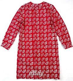 Marimekko Vintage Red Floral Print Cotton A-line Dress Size 40