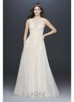 Melissa Sweet Embroidered Floral Tulle A-Line Wedding Dress Size 14