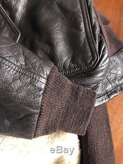 Mens COCKPIT G-1 Bomber Flight Jacket U. S. Navy Shearling Lined Brown Leather 42