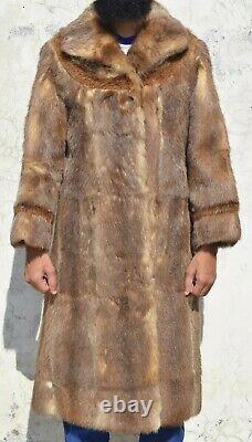 Mens Fur Coat Men Nutria Fur Coat Natural Vintage Long Length Chest 38(31)