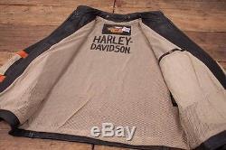 Mens Harley Davidson Vintage Leather Mesh Lined Biker Jacket Black L 44 R3132