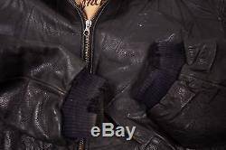 Mens Levis Vintage Lined Leather Bomber Jacket Black XL 48 R4103