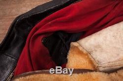 Mens Vintage 1950s Black Leather Fur Lined Biker Jacket Medium 38 R10696
