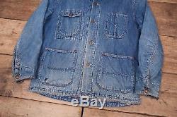 Mens Vintage 1950s Blue Lined Denim Workwear Chore Jacket USA Large 42 XR 8613