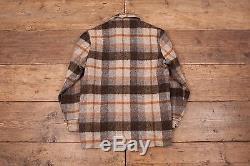 Mens Vintage 60s Woolrich Fur Lined CPO Lumberjack Plaid Wool Shirt S 36 R4852