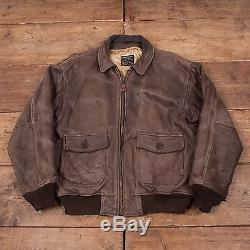 Mens Vintage Avirex G1 Lined Flight Aviator Leather Jacket Brown L 46 R5465