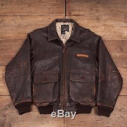 Mens Vintage Avirex Type G1 Brown Lined Leather Flight Jacket Medium 42 R6439
