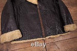 Mens Vintage B3 Sheepskin Shearling Fur Lined Leather Jacket Black L 46 R5051