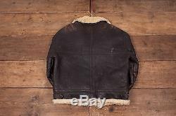 Mens Vintage B3 Sheepskin Shearling Fur Lined Leather Jacket Brown M 42 R5055