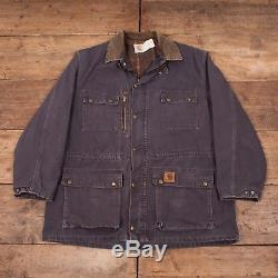 Mens Vintage Carhartt Blue Blanket Lined Cotton Workwear Jacket XL 50 R6257