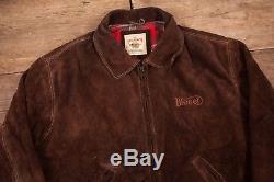 Mens Vintage Diesel Brown Suede Lined Western Trucker Jacket Large 44 R7824