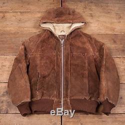 Mens Vintage Lee Shearling Fur Lined Leather Suede Hooded Jacket L 46 R5076