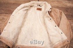Mens Vintage Levis Beige Fur Lined Suede Leather Sherpa Jacket Large 46 R6408