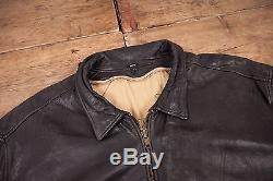 Mens Vintage Levis Black Tab Lined Leather Bomber Jacket Black XL 50 R5102