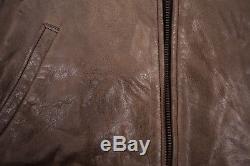 Mens Vintage Levis Grey Lined Leather Highwayman Jacket Large 44 R6410