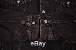 Mens Vintage Levis Red Tab Black Fur Lined Denim Sherpa Jacket XL 48 R6352