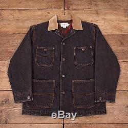 Mens Vintage Ralph Lauren Grey Lined Denim Workwear Jacket Medium 42 R5958
