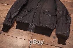 Mens Vintage Schott A2 Black Lined Leather Flight Bomber Jacket Medium 42 R6151