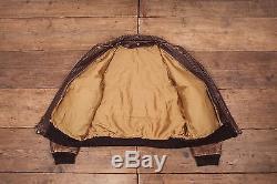 Mens Vintage Schott A2 Brown Lined Leather Bomber Flight Jacket Large 46 R6147