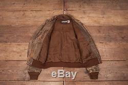 Mens Vintage Schott A2 Brown Lined Leather Flight Bomber Jacket Medium 42 R6152
