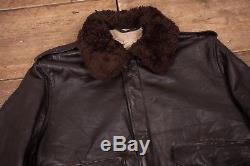 Mens Vintage Schott AS-674-MS Brown Fur Lined Leather Jacket Large 44 XR 8546