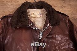 Mens Vintage Schott NYC A2 Shearling Flight Jacket Fur Lined Brown 44 L R5449