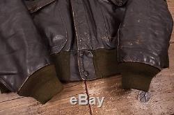 Mens Vintage Schott NYC A2 Shearling Flight Jacket Fur Lined Talon 46 L R5448