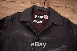 Mens Vintage Schott NYC Black Quilt Lined Leather Coat Jacket Medium 42 R6149