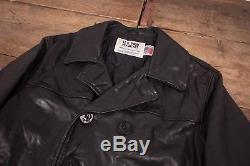 Mens Vintage Schott US 740N Black Quilt Lined Leather Pea Jacket M 42 R6438